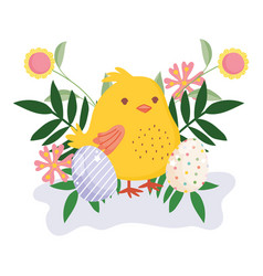 happy easter cute chicken decorative eggs flowers vector image