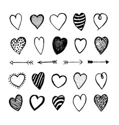heart icons hand drawn set for valentines day vector image