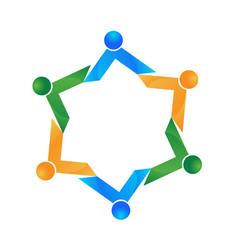 hexagon shape business team vector image