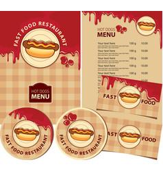 hot dog menu set design elements for fast food vector image