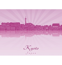 Kyoto skyline in purple radiant orchid vector