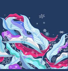 leaves in snowflakes vector image