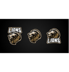 Lion sport emblem badge logo vector