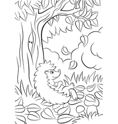 Little cute kind hedgehog sits near the tree and vector image