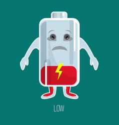 low charged battery cartoon character with hands vector image