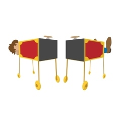 Magician sawing box cartoon icon vector