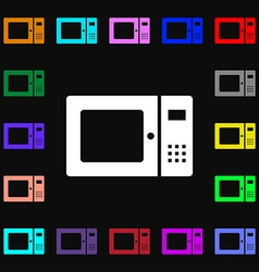 Microwave icon sign Lots of colorful symbols for vector