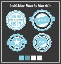 Mixed Badges Ribbons Set vector image