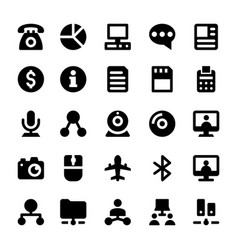 Network and communications line icons 4 vector