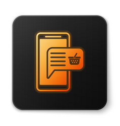 orange glowing mobile phone and shopping basket vector image