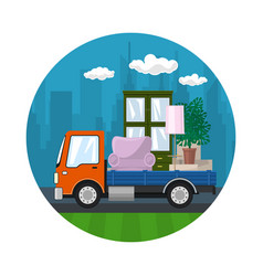 orange truck is transporting furniture vector image