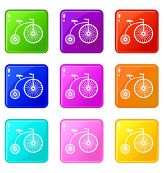 Penny-farthing icons 9 set vector