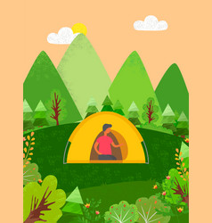 person sitting in tent camping male in forest vector image