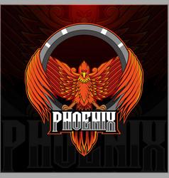Phoenix esport mascot logo design vector