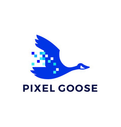 pixel goose technology digital logo icon vector image