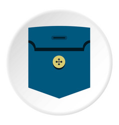 Pocket with button icon circle vector