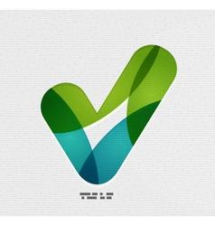 Positive checkmark tick on paper design vector image