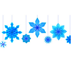 postcard with hanging blue origami snowflakes and vector image