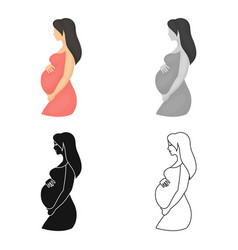 pregnant icon in cartoon style isolated on white vector image