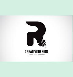 R letter logo design brush paint stroke artistic vector