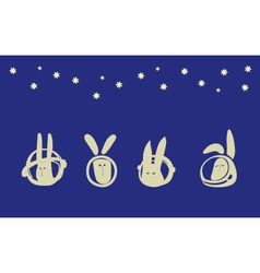 Rabbits in space vector image