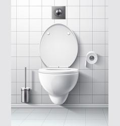 Realistic modern toilet room handing bowl vector