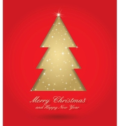 red and gold christmas tree vector image