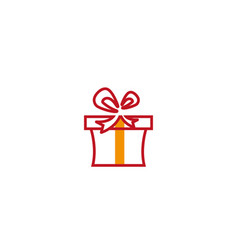 Red gift box and surprise logo design vector