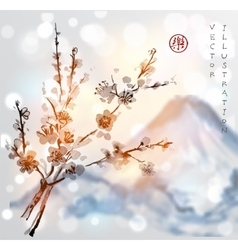 Sakura branches and fujiyama mountain vector