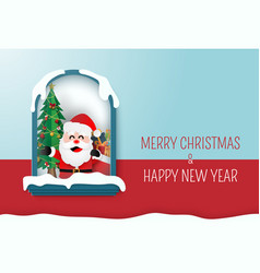 santa claus in a hourse with christmas tree vector image