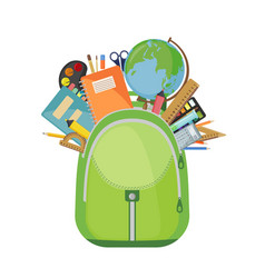 school bag with pens books and pencils vector image