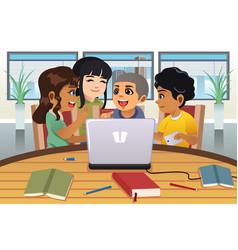 school kids working around a laptop computer vector image