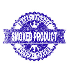 Scratched textured smoked product stamp seal with vector