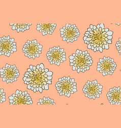seamless floral pattern with beige aster flowers vector image