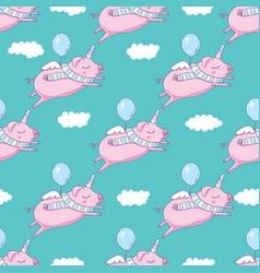 Seamless pattern background cute pig as pegasus vector