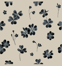 Seamless pattern of clover leaves hand vector