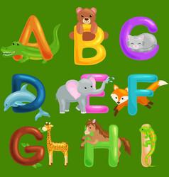 Set animals alphabet for kids fish letters vector