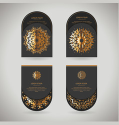 Set of four ornamental gold cards with flower vector