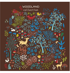 set of woodland elements vector image