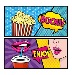 set pop art comic with popcorn and woman vector image