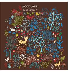 set woodland elements vector image