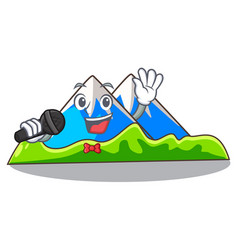 Singing mountain scenery isolated from the mascot vector