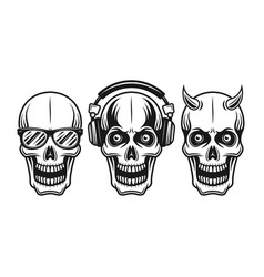 Skulls with sunglasses headphones horned vector