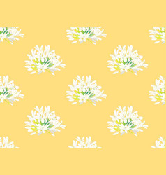 Snow white agapanthus on yellow background vector