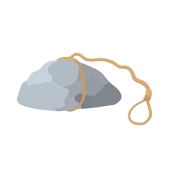 Stone with rope icon cartoon style vector
