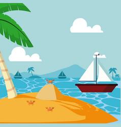 summer and sailboat vector image