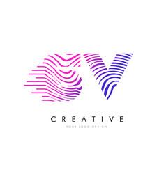 sv s v zebra lines letter logo design with vector image