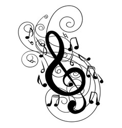 Swirl whirl treble clef key doodle vector