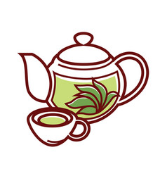 teapot with herbal tea and cup isolated vector image