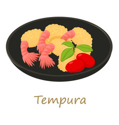 Tempura icon cartoon style vector